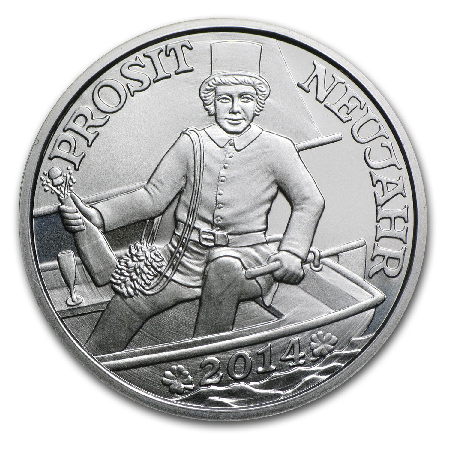 2014 Glücksjeton Happy New Year Silver Round ASW .1302 oz