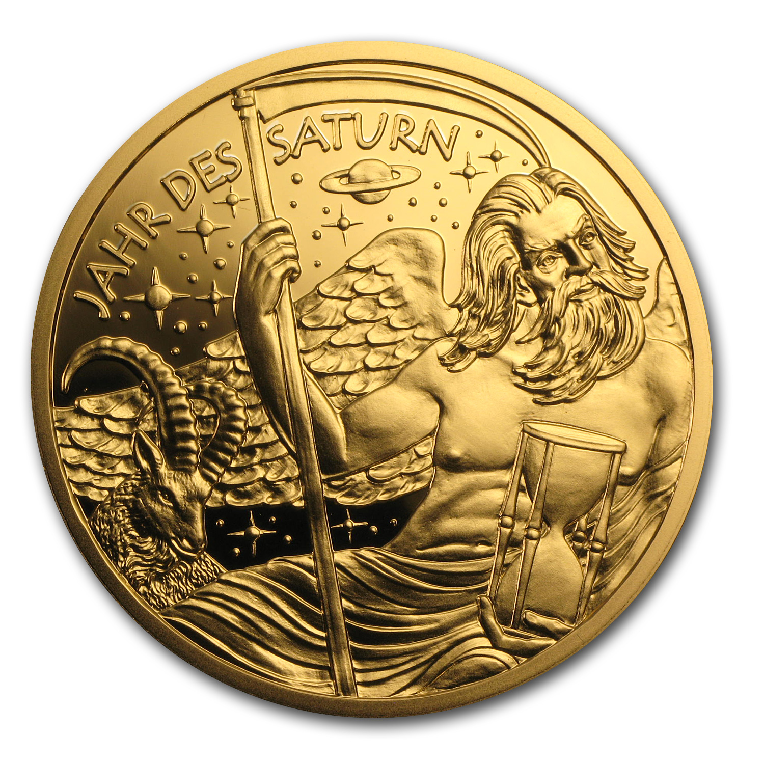 2014 The Golden Age of Saturn Kalendermedaille Gold Medal