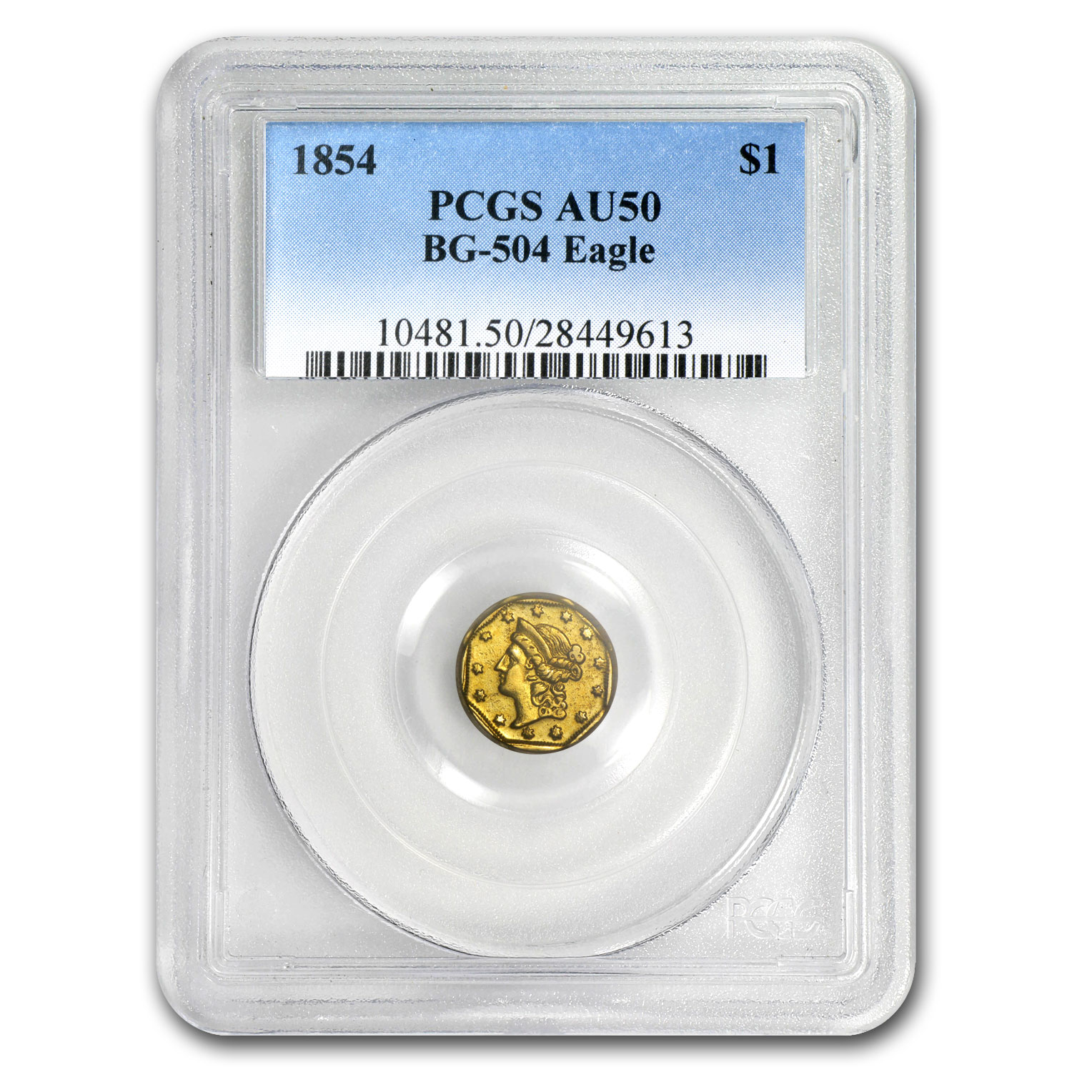 1854 BG-504 Liberty Octagonal One Dollar Gold AU-50 PCGS (Eagle)