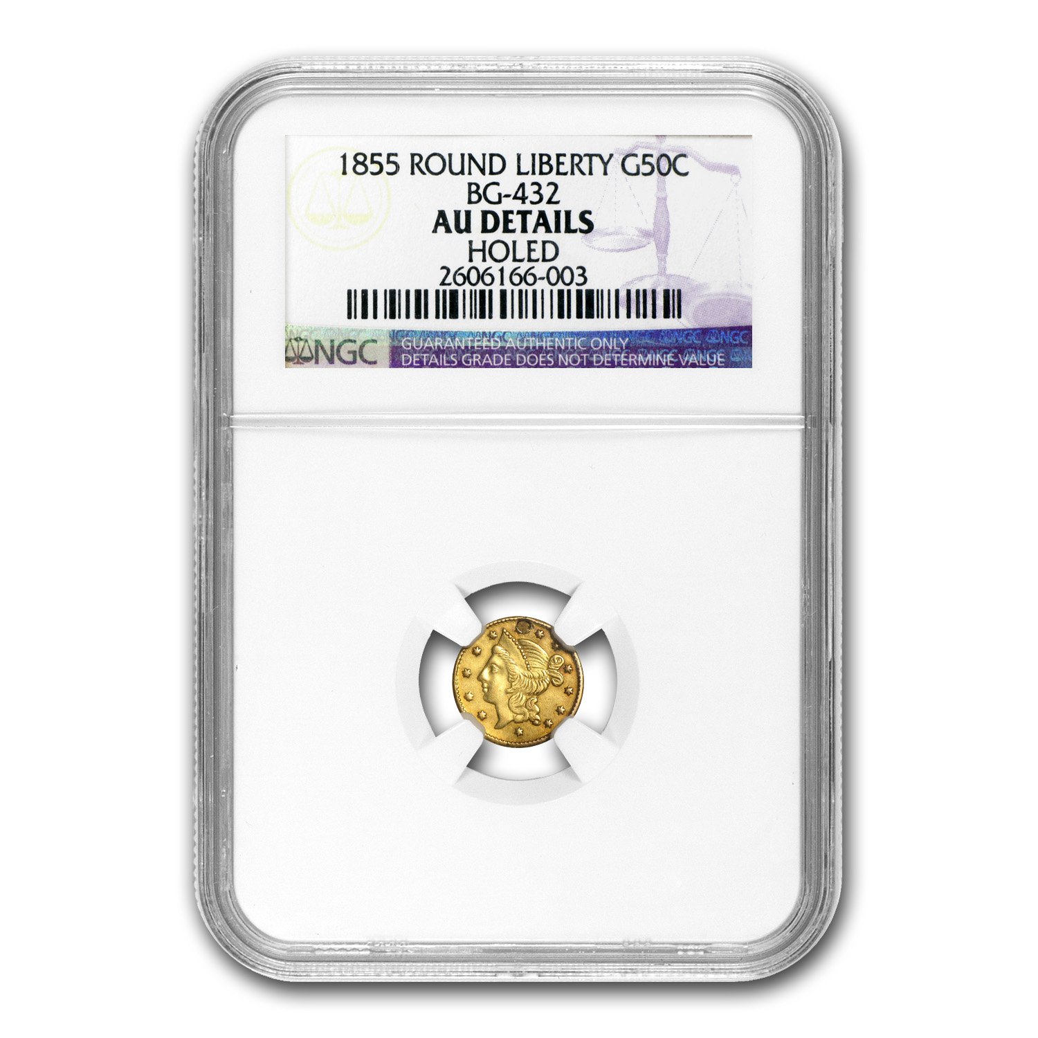 1855 BG-432 Liberty Round 50 Cent Gold AU Details NGC (Holed)