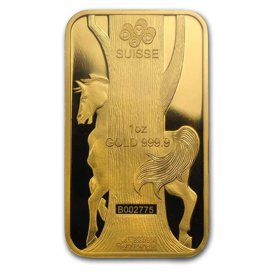 1 oz Gold Bars - Pamp Suisse (Year of the Horse, in Assay)