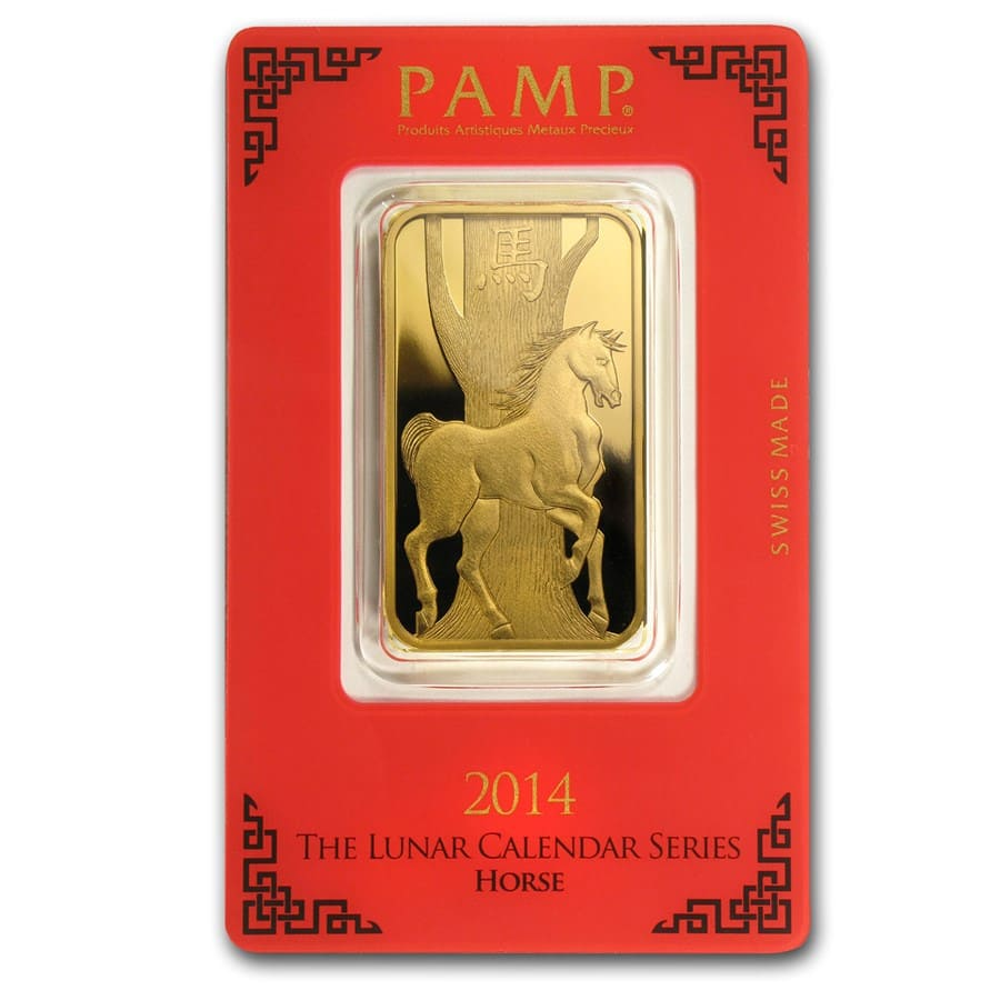 1 oz Gold Bar - Pamp Suisse (Year of the Horse, in Assay)