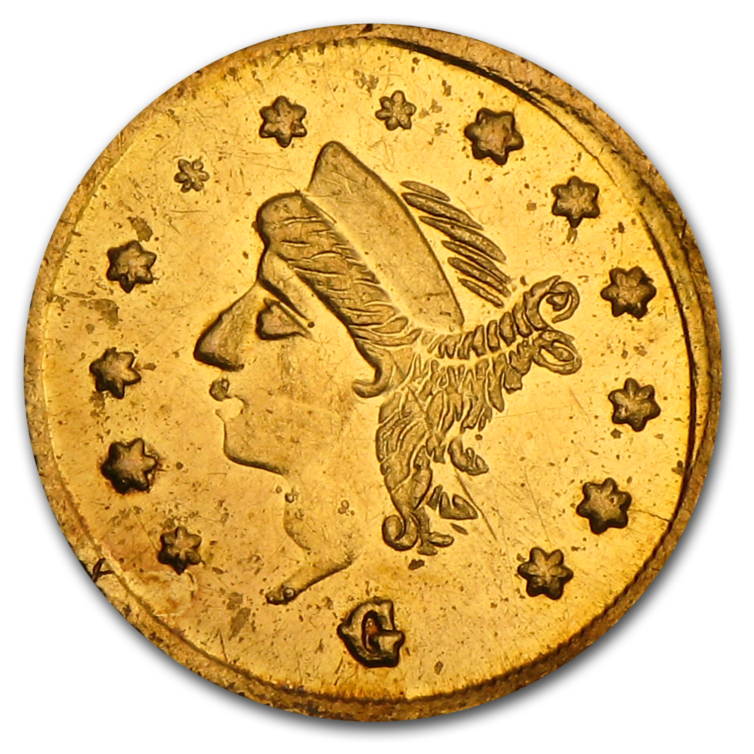 1867 BG-825 Round Liberty 25 Cent Gold MS-61