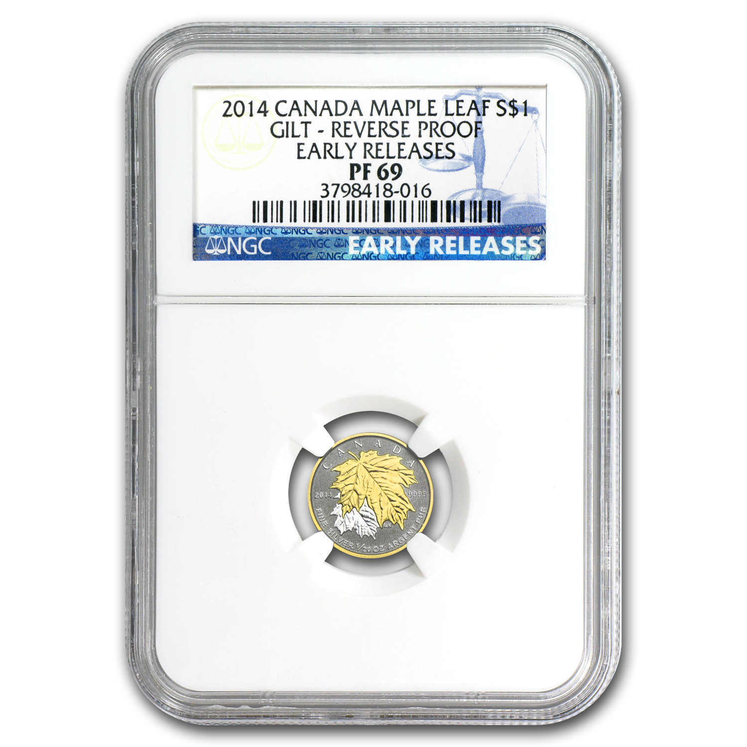 2014 Canada 1/20 oz Silver $1 Maple Leaf Gilt PF-69 NGC (ER)