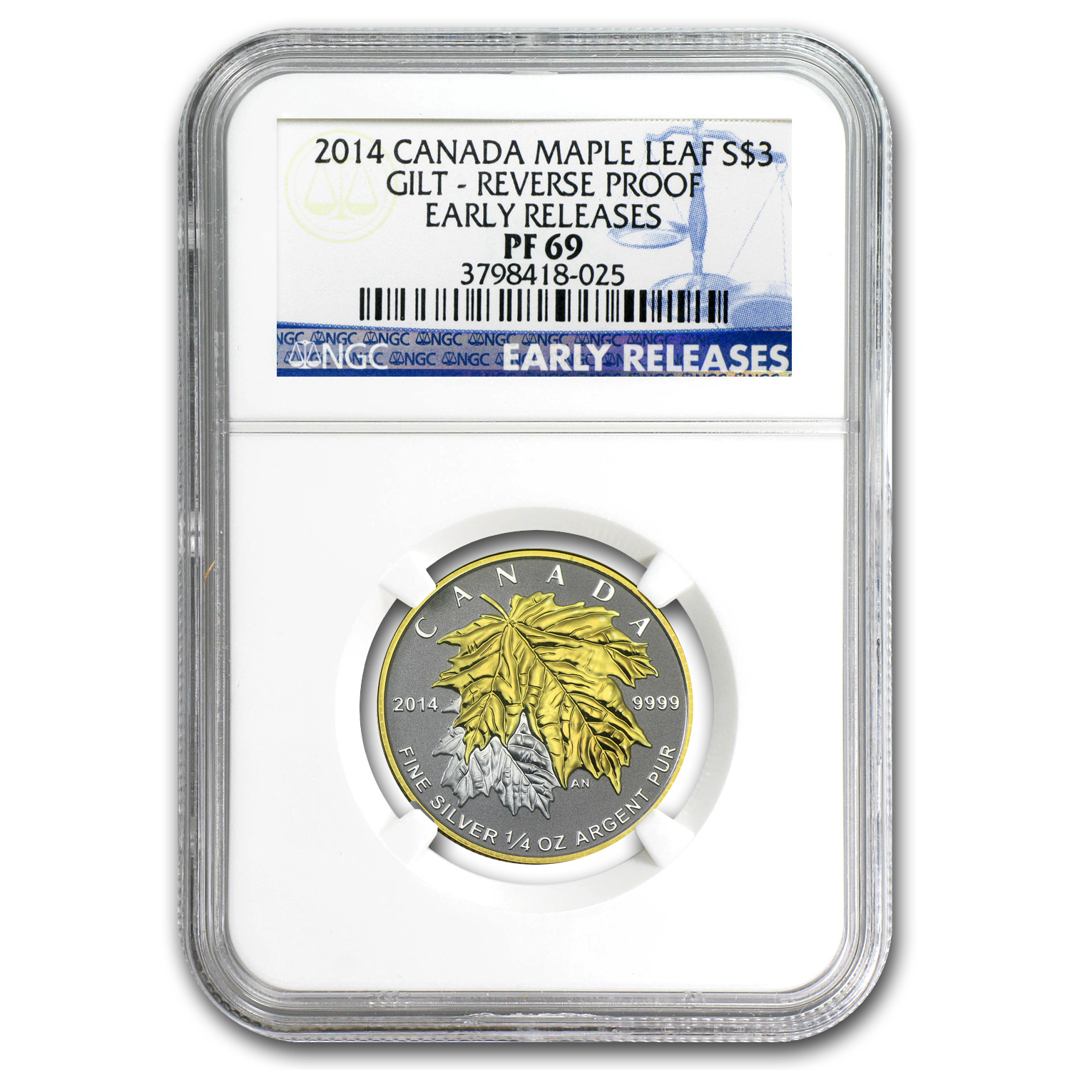 2014 1/4 oz Silver Canadian $3 Maple Leaf Gilt PF-69 NGC ER