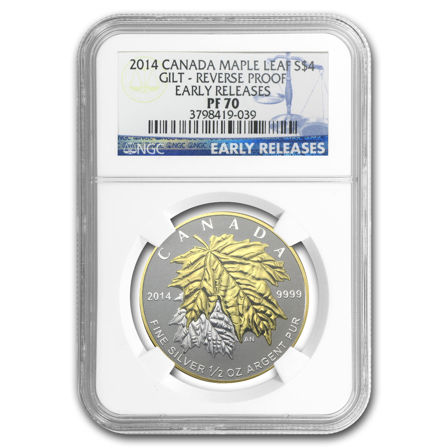 2014 Canada 1/2 oz Silver $4 Maple Leaf Gilt PF-70 NGC (ER)