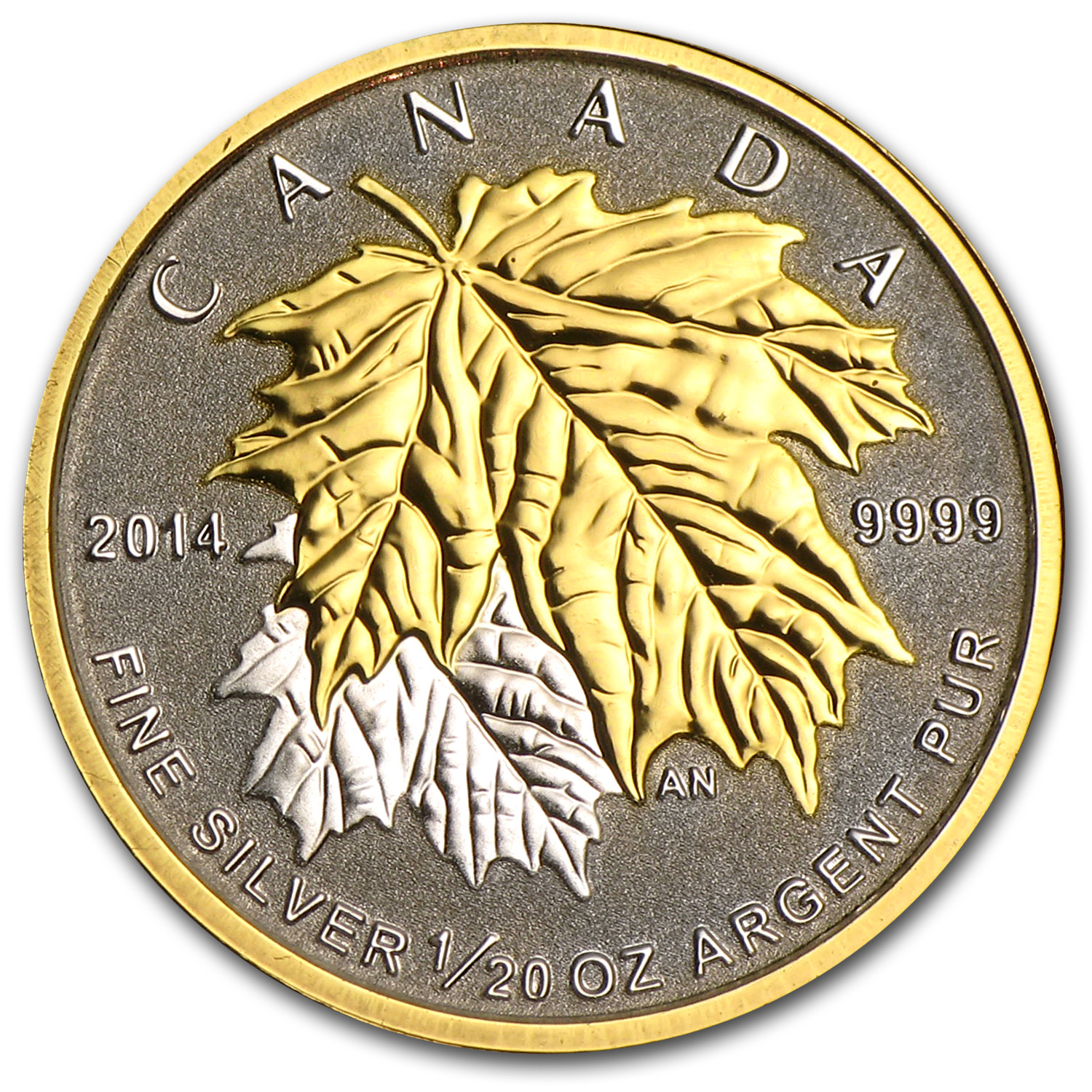 2014 Canada 1/10 oz Silver $1 Maple Leaf (Gilded)