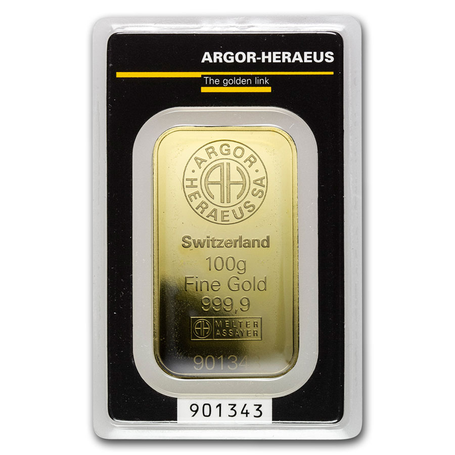 100 gram Gold Bar - Argor-Heraeus