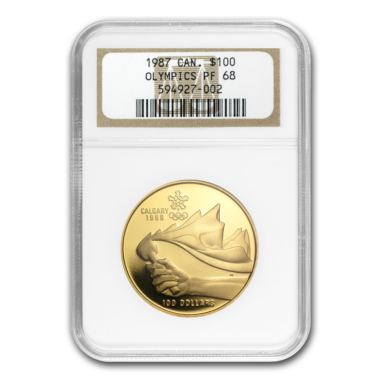 1987 1/4 oz Gold Canadian $100 XV Olympic Games PF-68 NGC