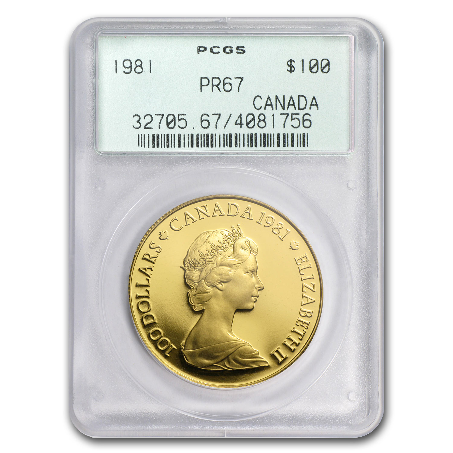 1981 1/2 oz Gold Canadian $100 Proof - National Anthem PR-67 PCGS