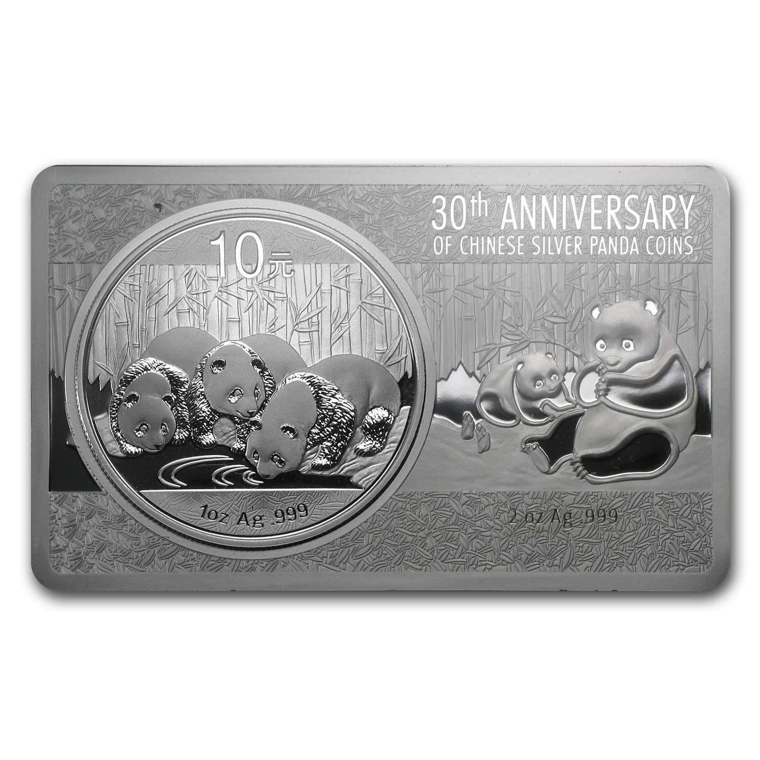 2013 China 2-Pc Silver 30th Anniv of Panda Coin/Bar Set (3 oz)
