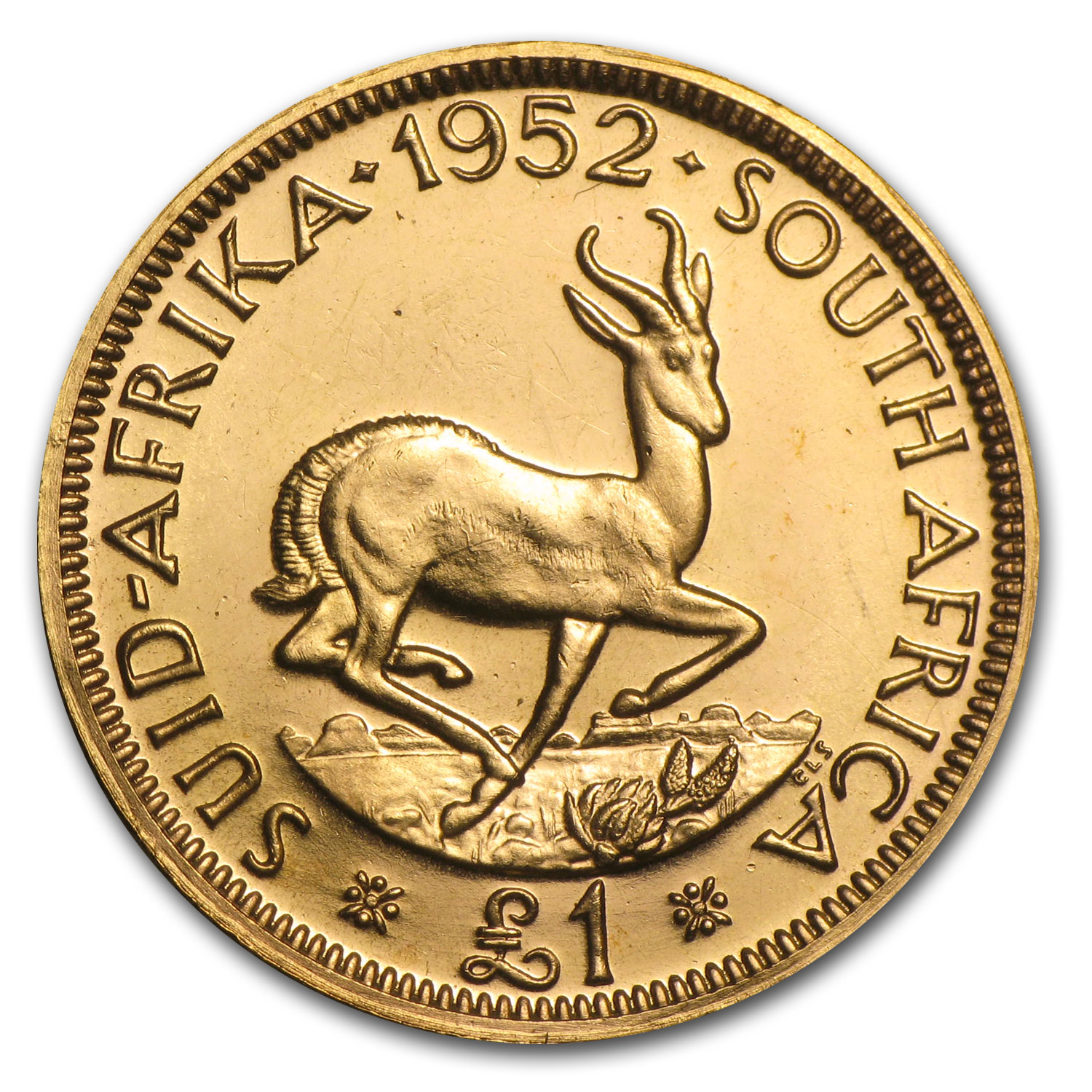 1952 South African Gold 1 Pound George VI (BU/Proof)