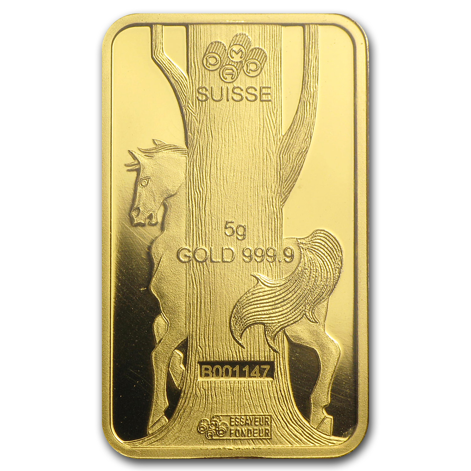 5 gram Gold Bar - Pamp Suisse (Year of the Horse, in Assay)