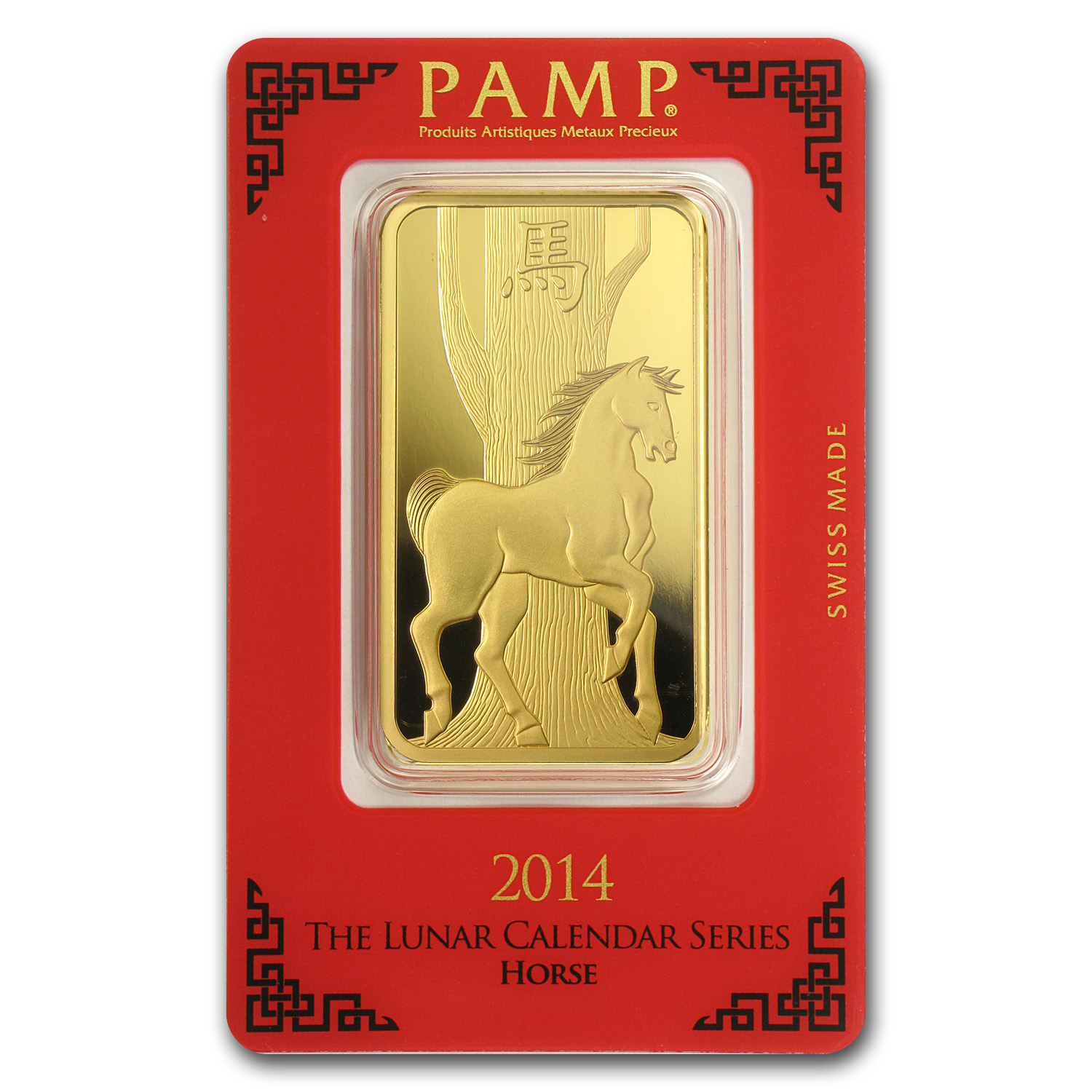 100 gram Gold Bar - Pamp Suisse (Year of the Horse, in Assay)