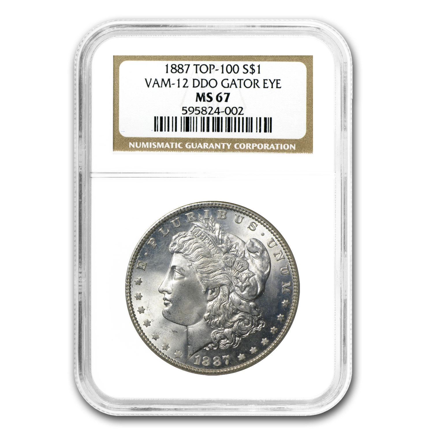 1887 Morgan Dollar MS-67 NGC (VAM-12, Alligator Eye, Top-100)