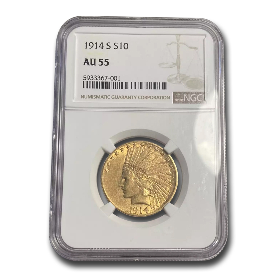 1914-S $10 Indian Gold Eagle AU-55 NGC