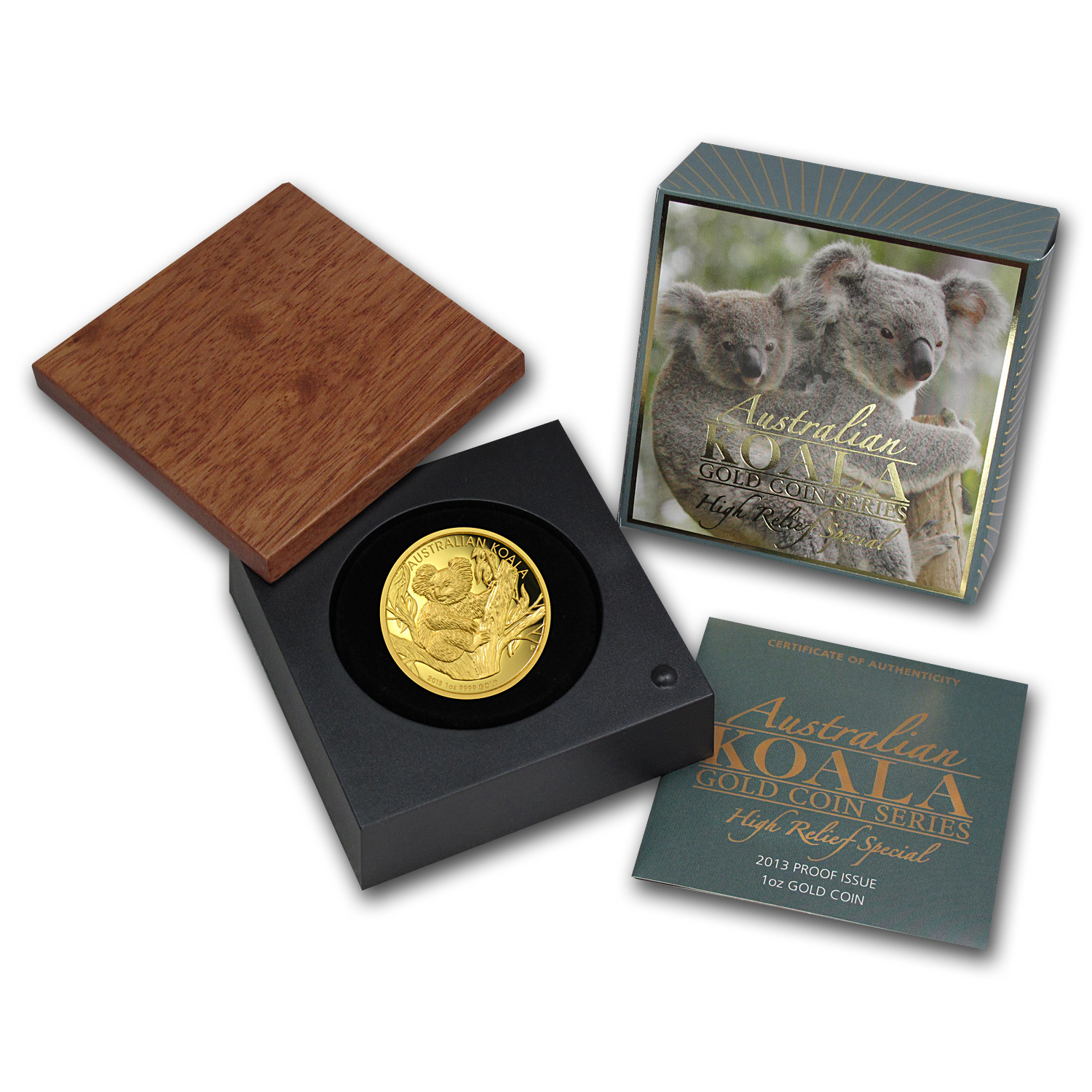 2013-P 1 oz Proof Gold High Relief Koala (W/Box & Coa)