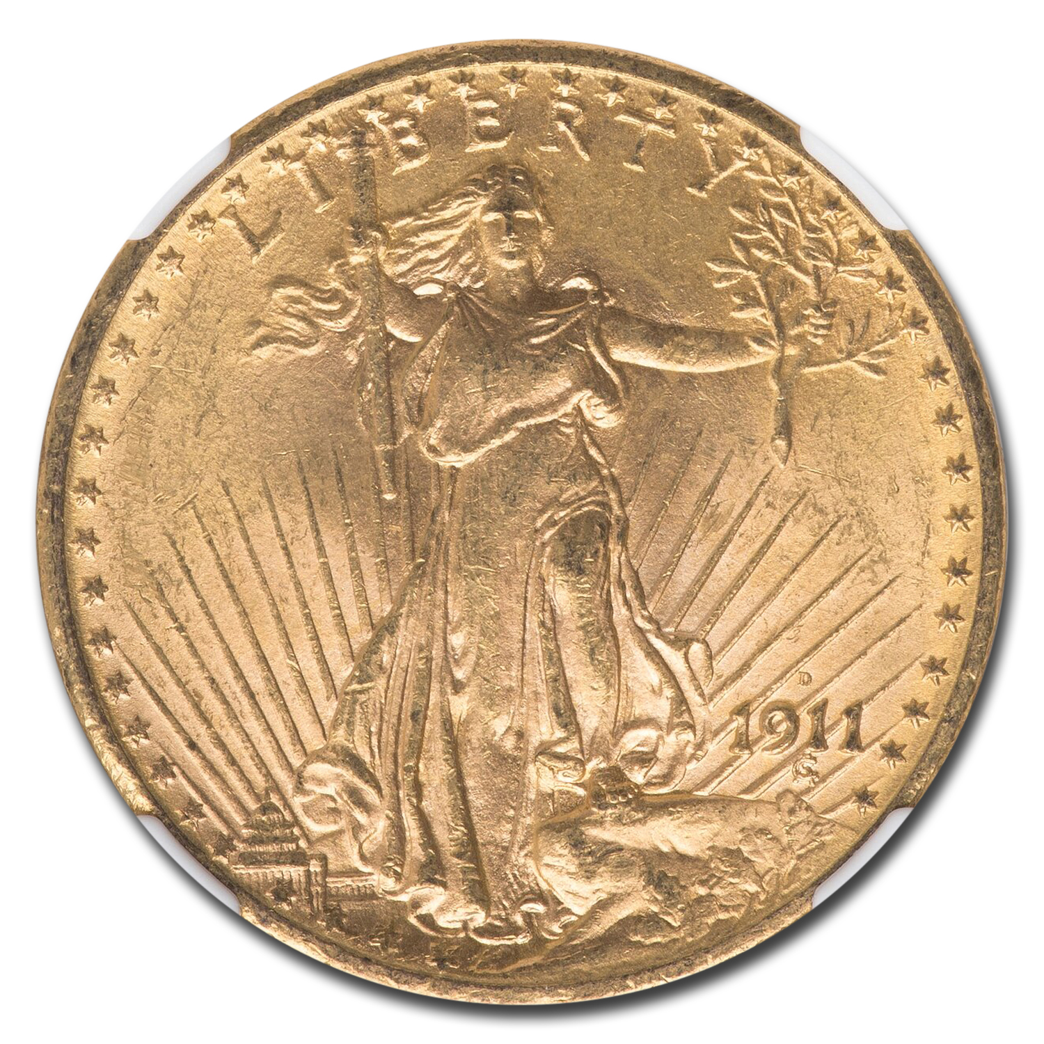 1911-D $20 St. Gaudens Gold Double Eagle MS-64 NGC
