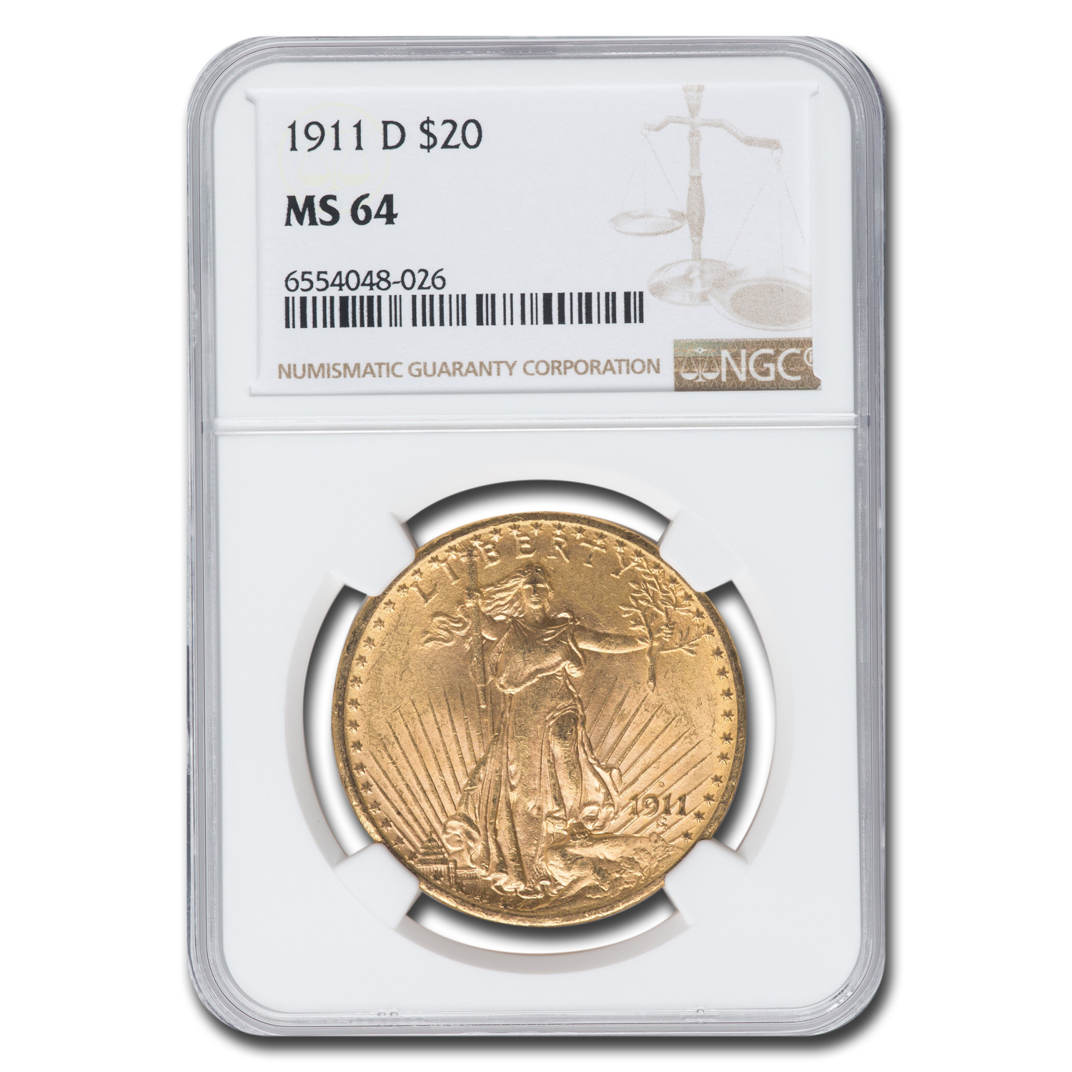 1911-D $20 Saint-Gaudens Gold Double Eagle MS-64 NGC