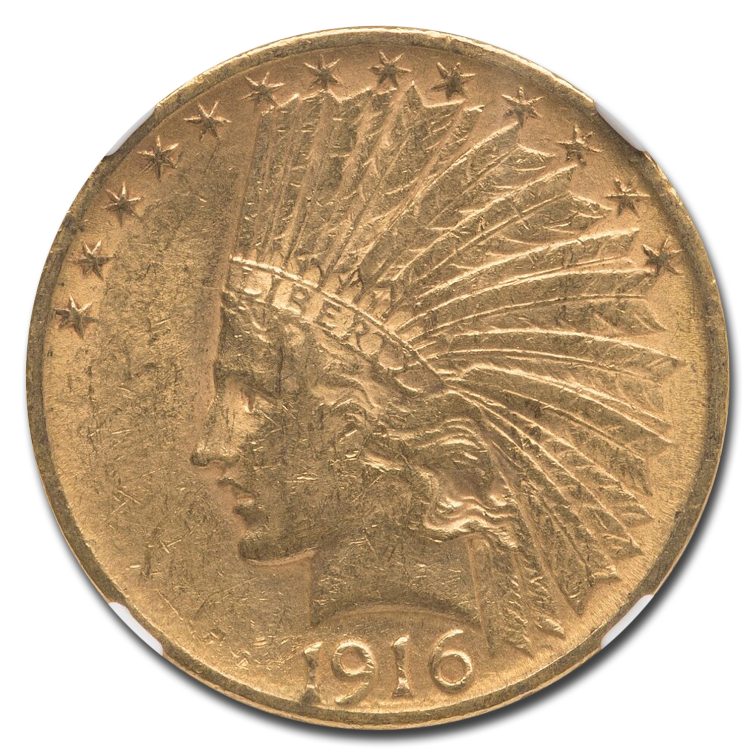1916-S $10 Indian Gold Eagle AU-55 NGC