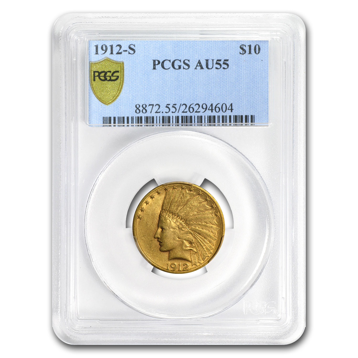 1912-S $10 Indian Gold Eagle - AU-55 PCGS