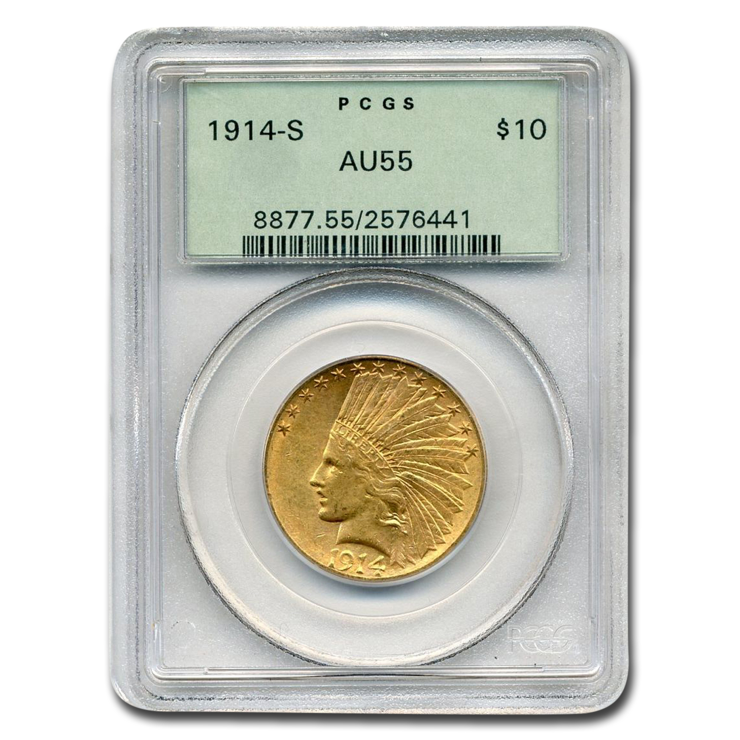 1914-S $10 Indian Gold Eagle - AU-55 PCGS