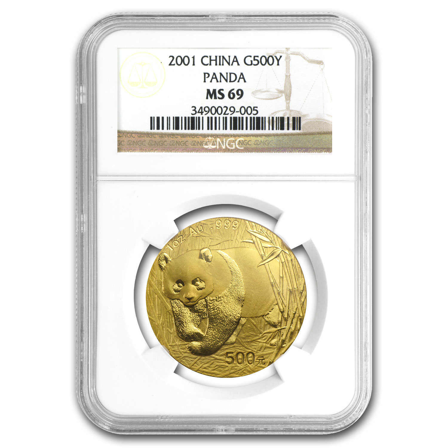 2001 China 1 oz Gold Panda MS-69 NGC