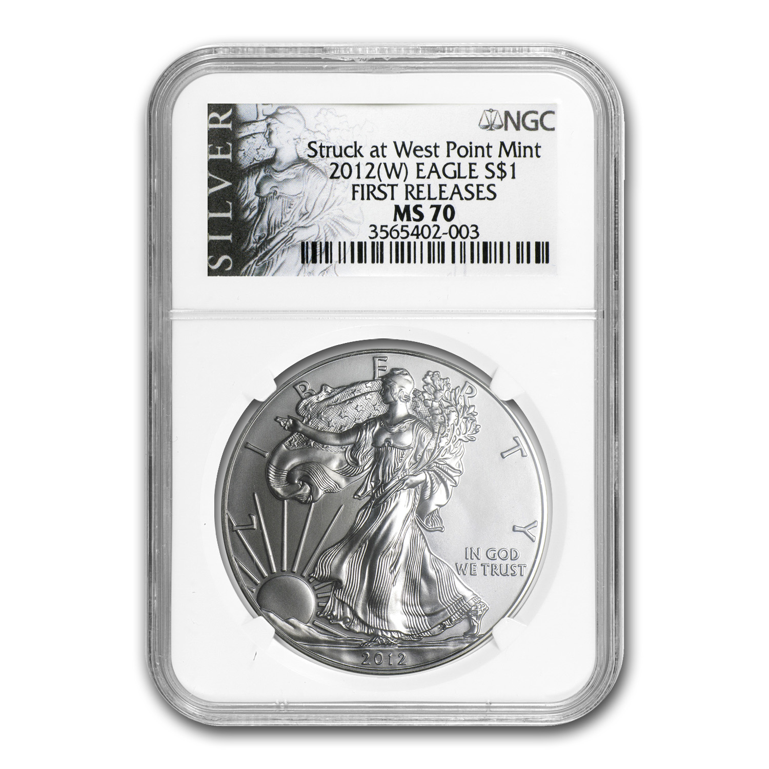 2012 (W) Silver American Eagle MS-70 NGC (ALS Label, 1st Release)