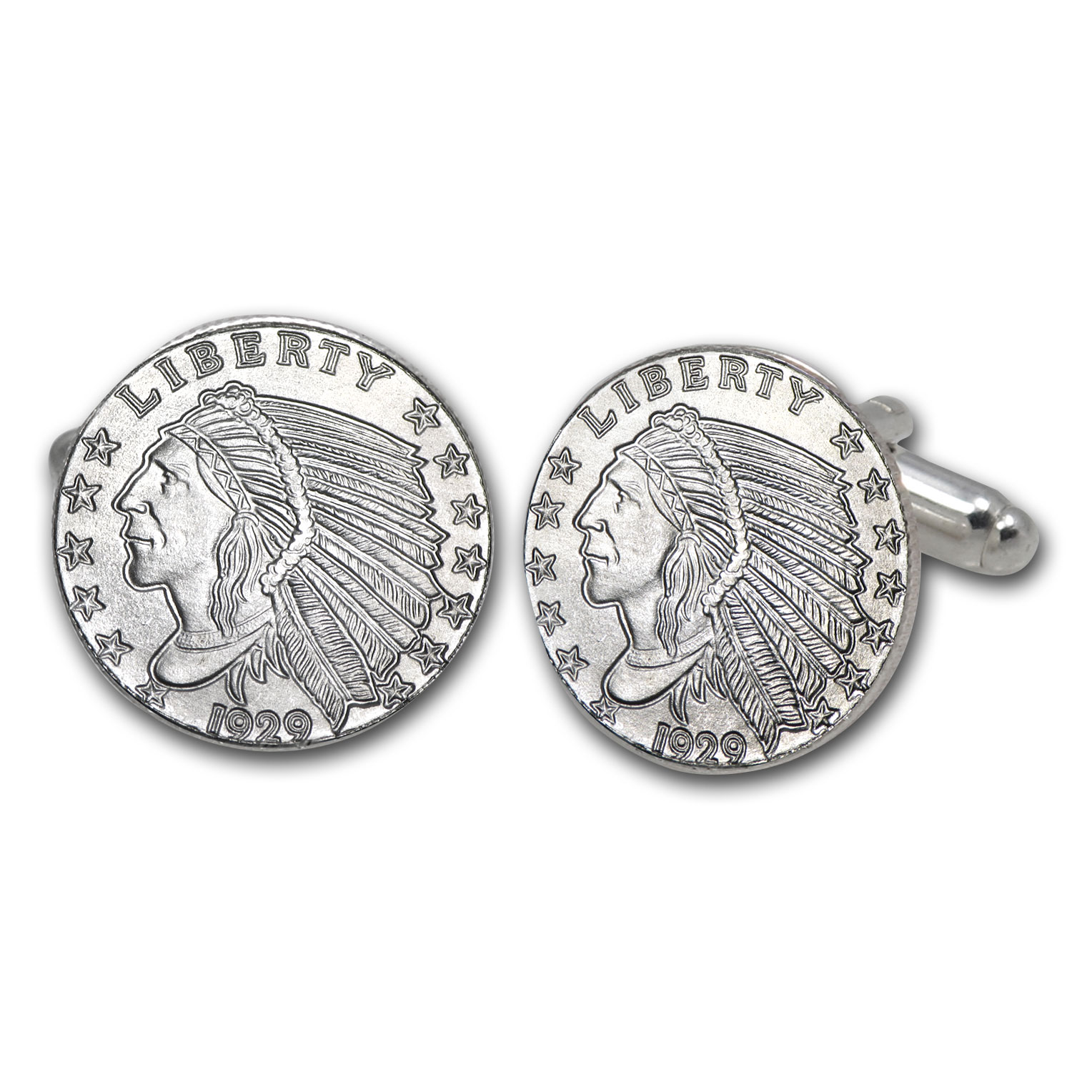 Silver Indian Head Cuff Link & Tie Pin Set