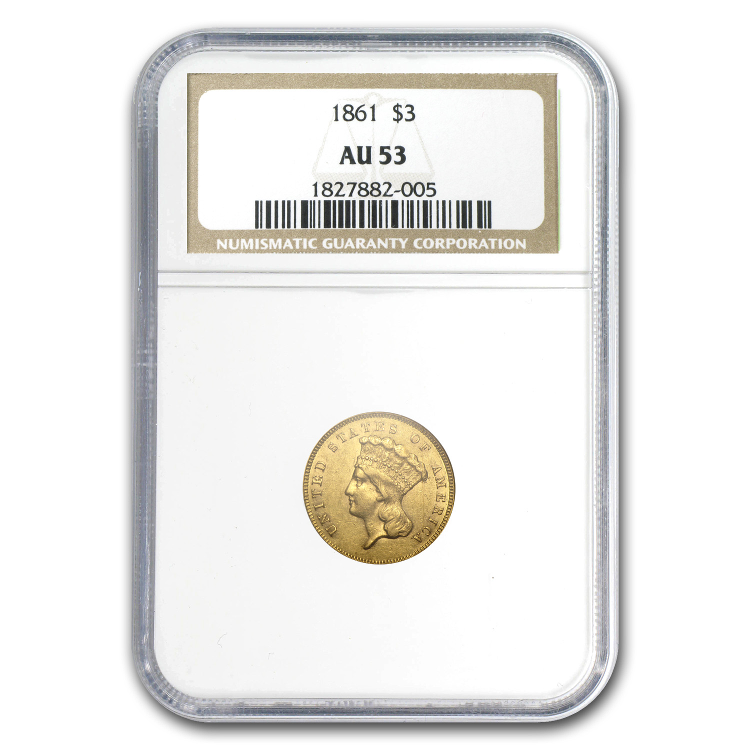 1861 $3 Gold Princess - AU-53 NGC