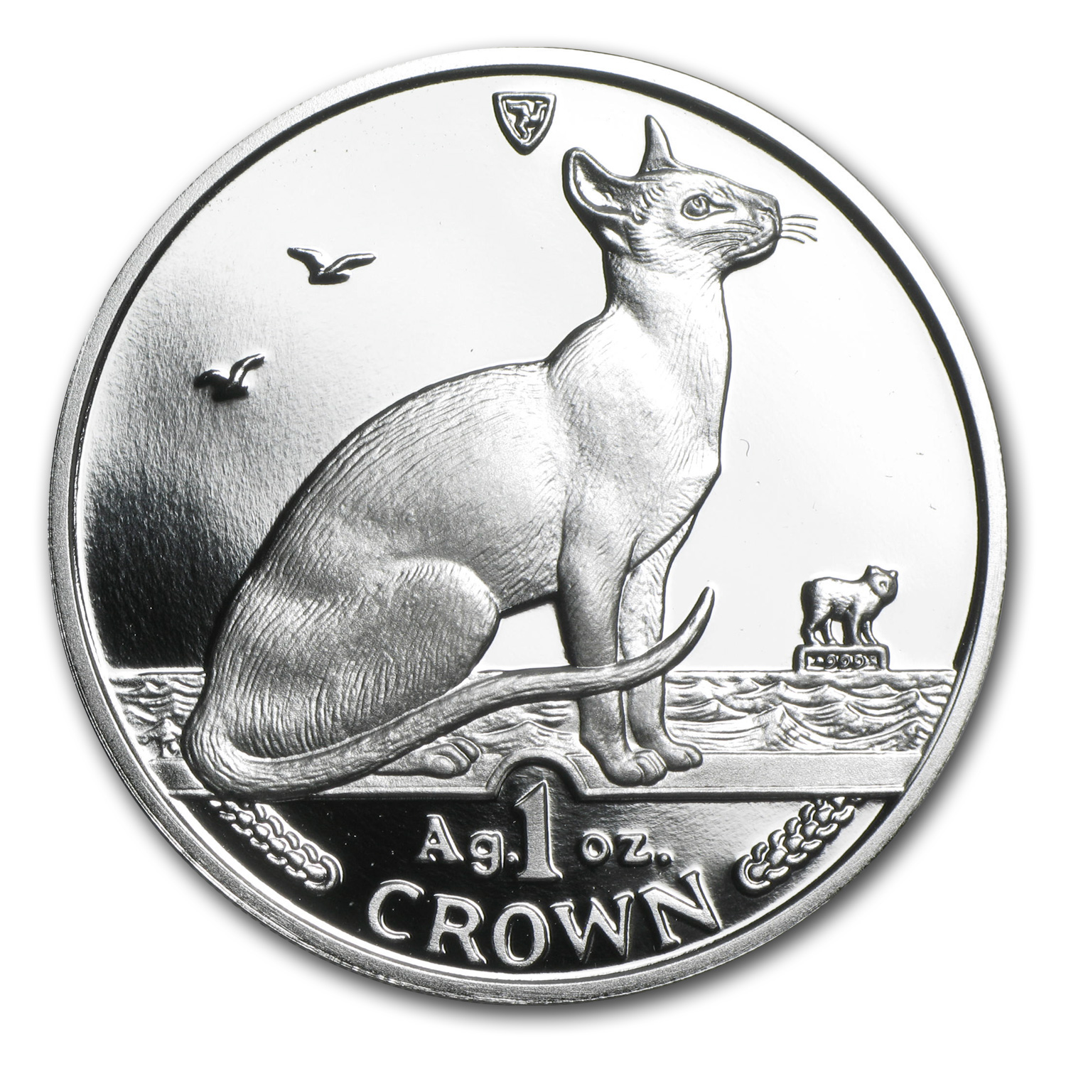 Isle of Man 1992 1 Crown Silver Proof Siamese Cat