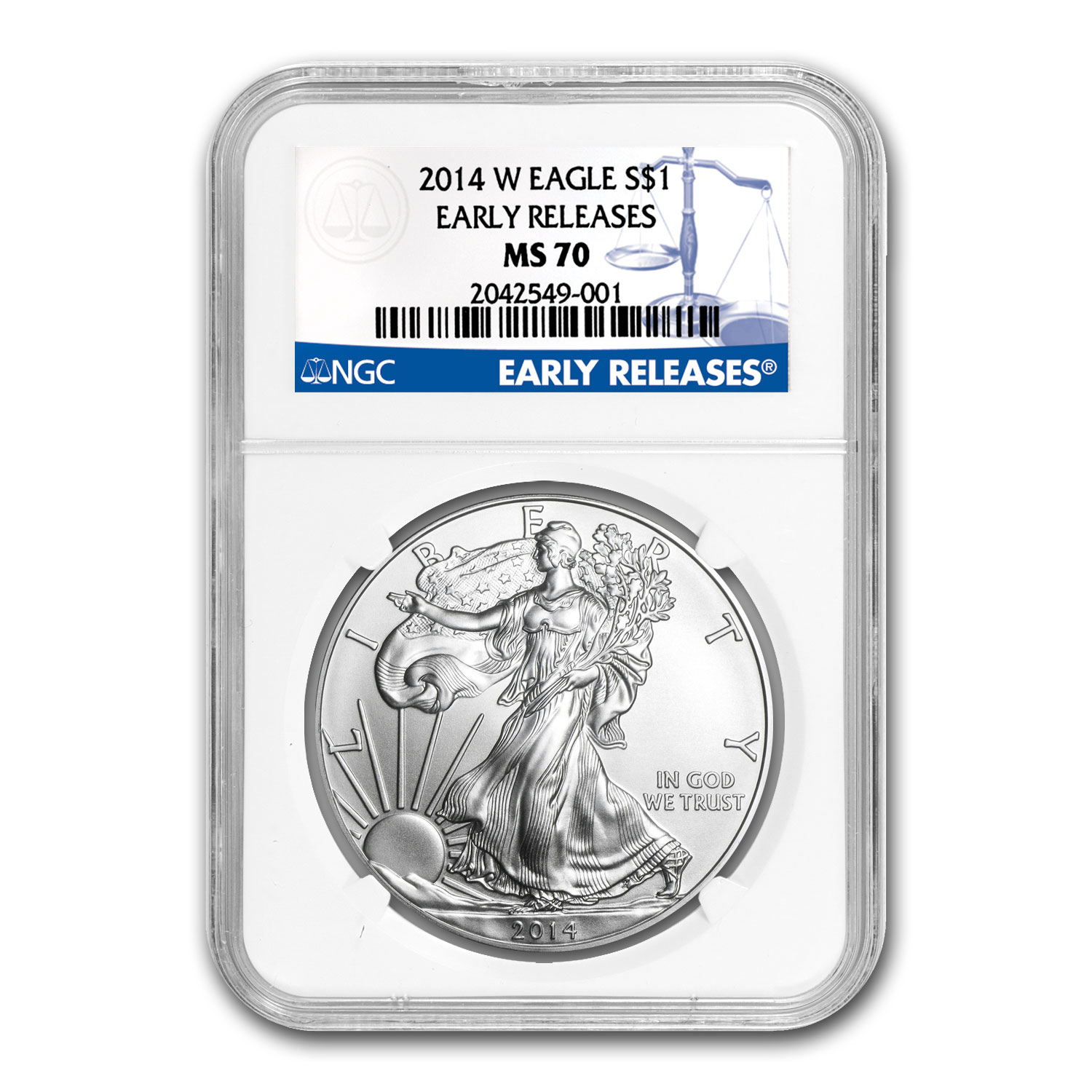 2014-W Burnished Silver Eagle MS-70 NGC (Early Releases)