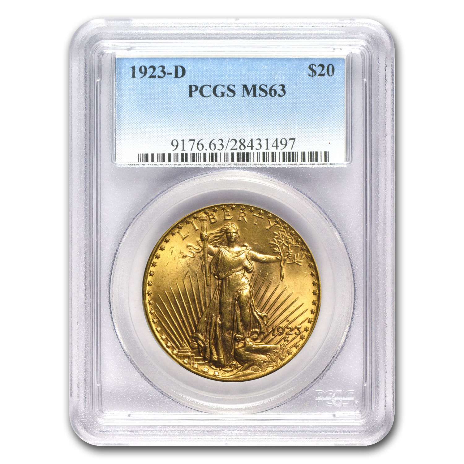 1923-D $20 St. Gaudens Gold Double Eagle MS-63 PCGS