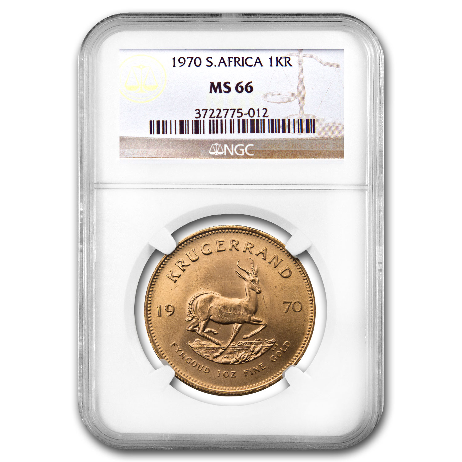 1970 South Africa 1 oz Gold Krugerrand MS-66 NGC