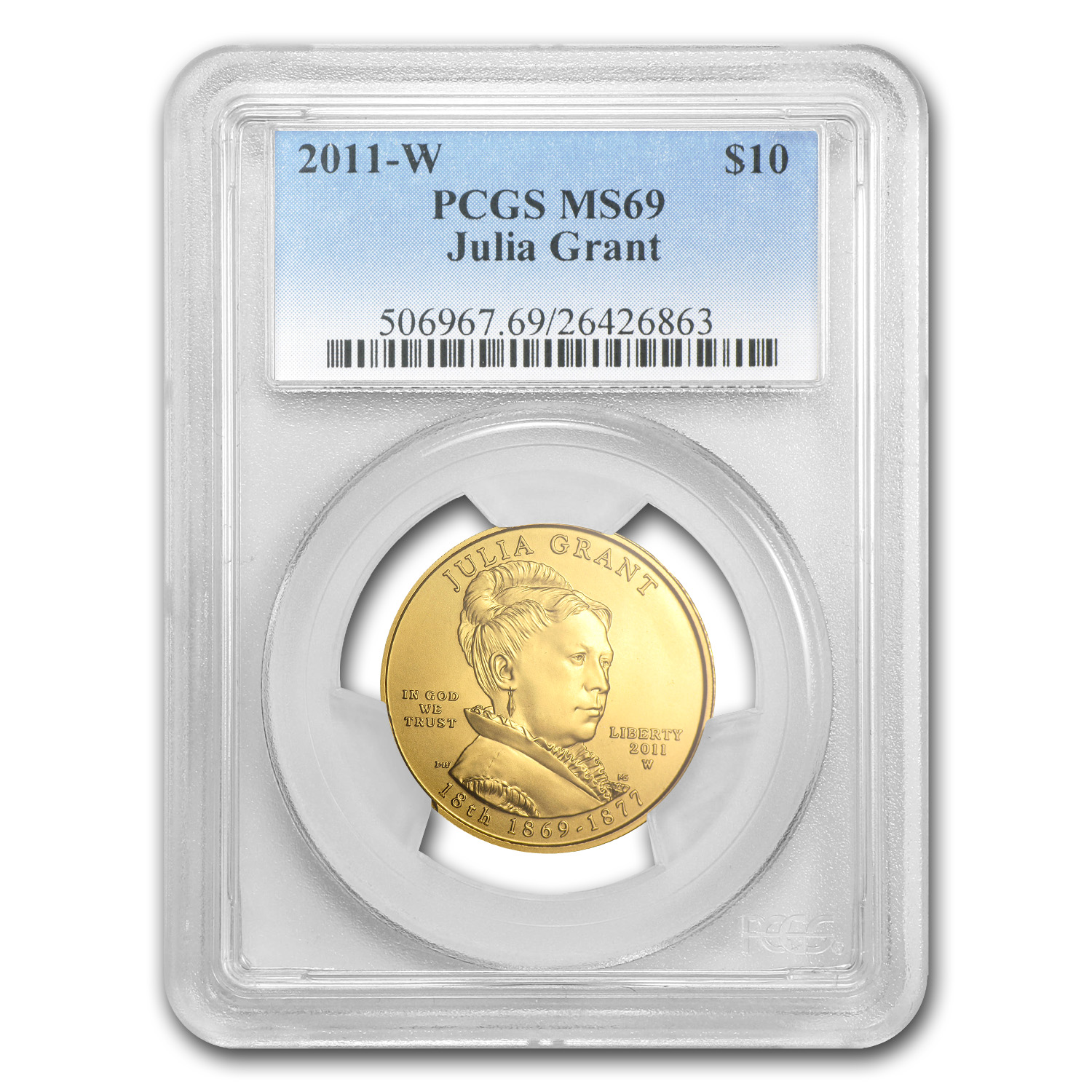 2011-W 1/2 oz Gold Julia Grant MS-69 PCGS