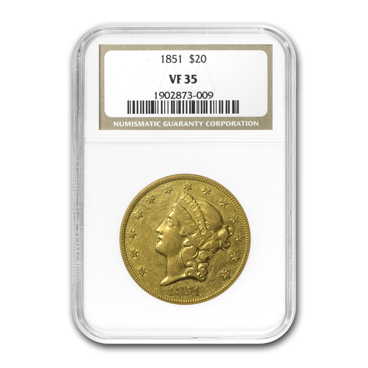 1851 $20 Gold Liberty Double Eagle - VF-35 NGC
