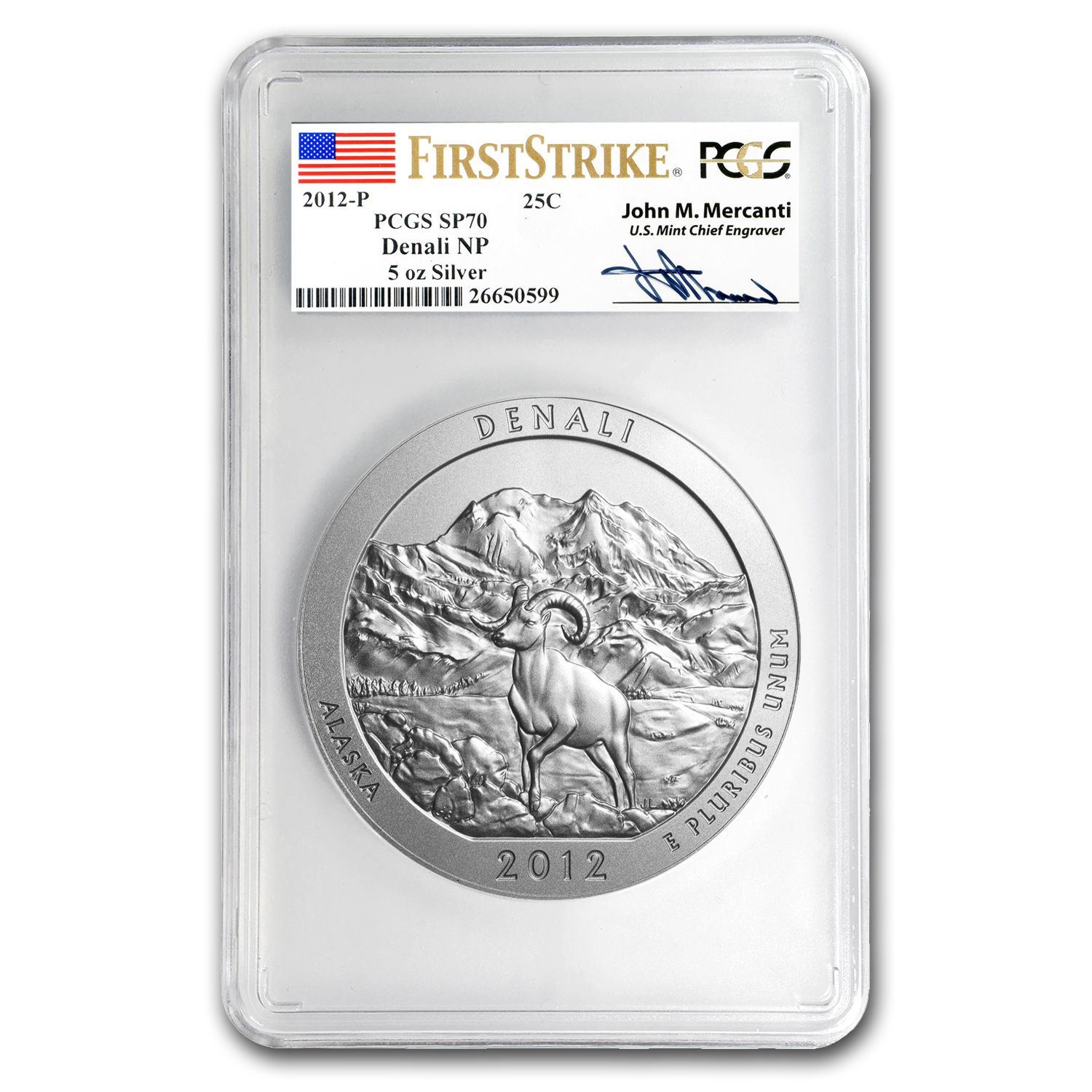 2012-P 5 oz Silver ATB Denali SP-70 PCGS (FS, Mercanti Label)