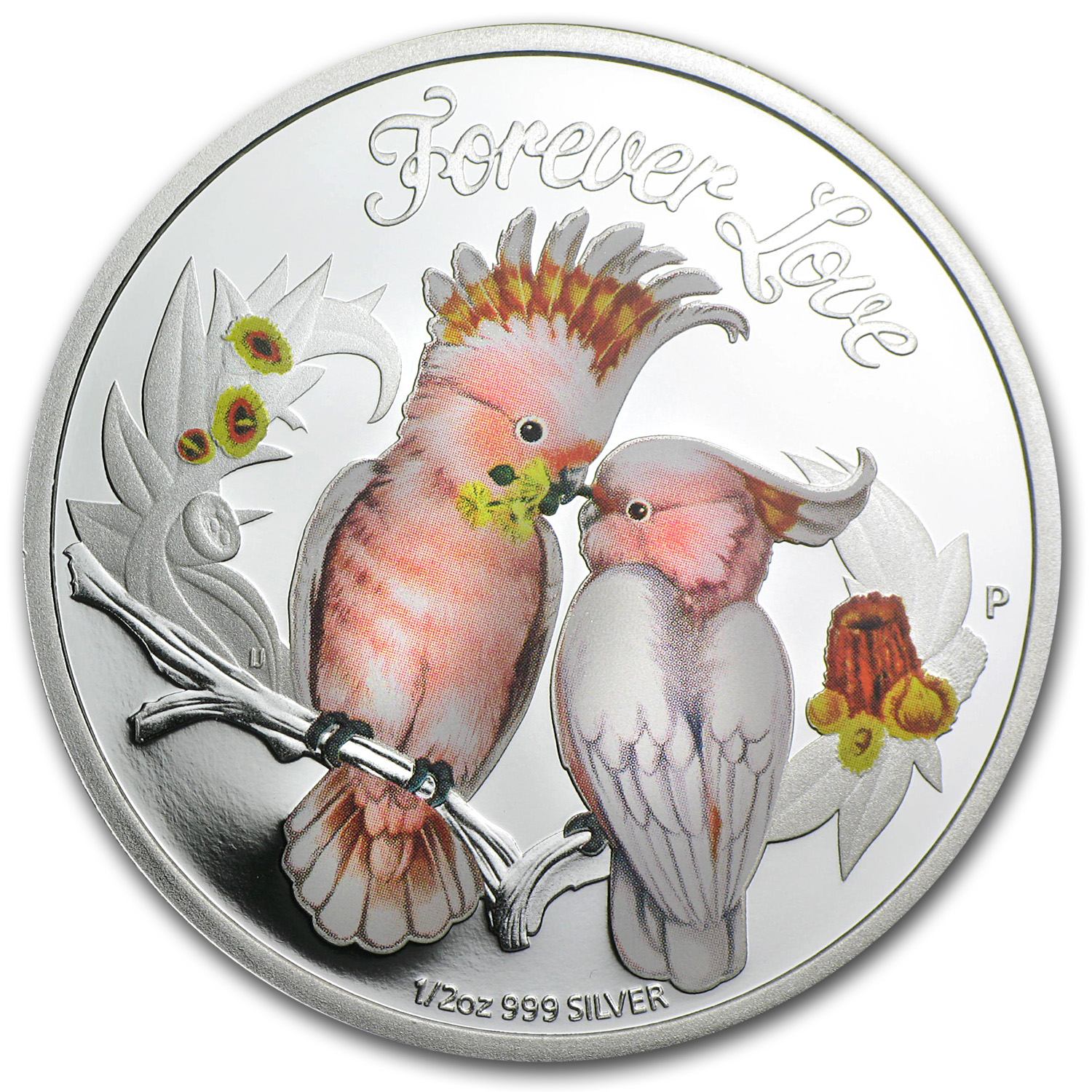 2014 Tuvalu 1/2 oz Silver Forever Love Cockatoos Proof