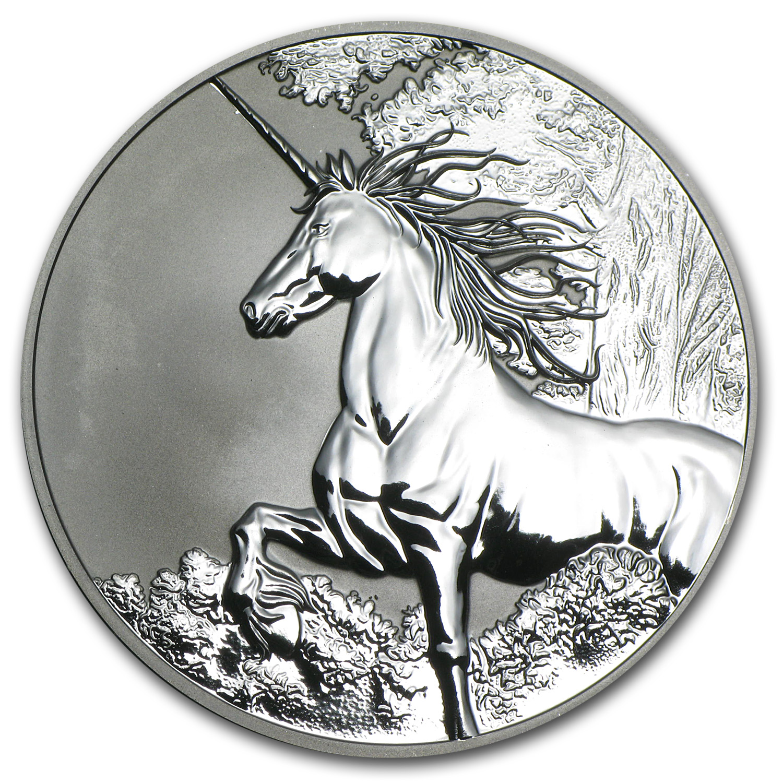2014 Tokelau 1 Oz Silver 5 Unicorn Reverse Proof Silver