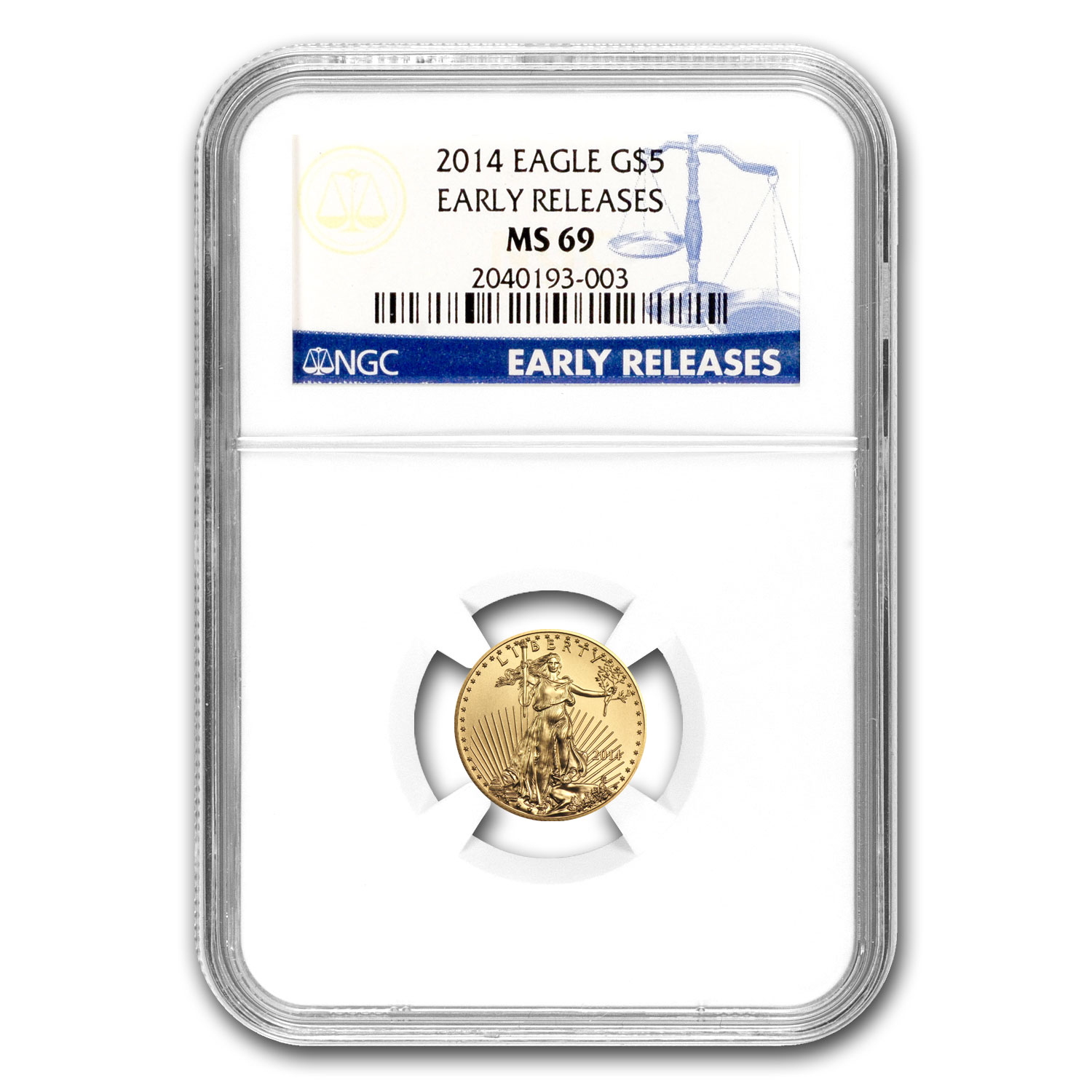 2014 1/10 oz Gold American Eagle MS-69 NGC Early Releases