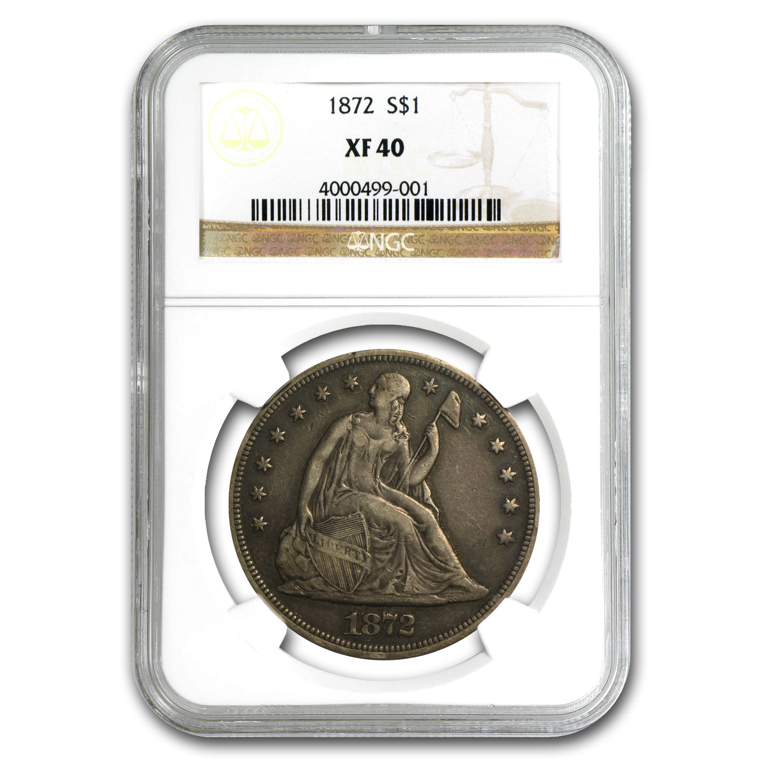 1872 Liberty Seated Dollar XF-40 NGC