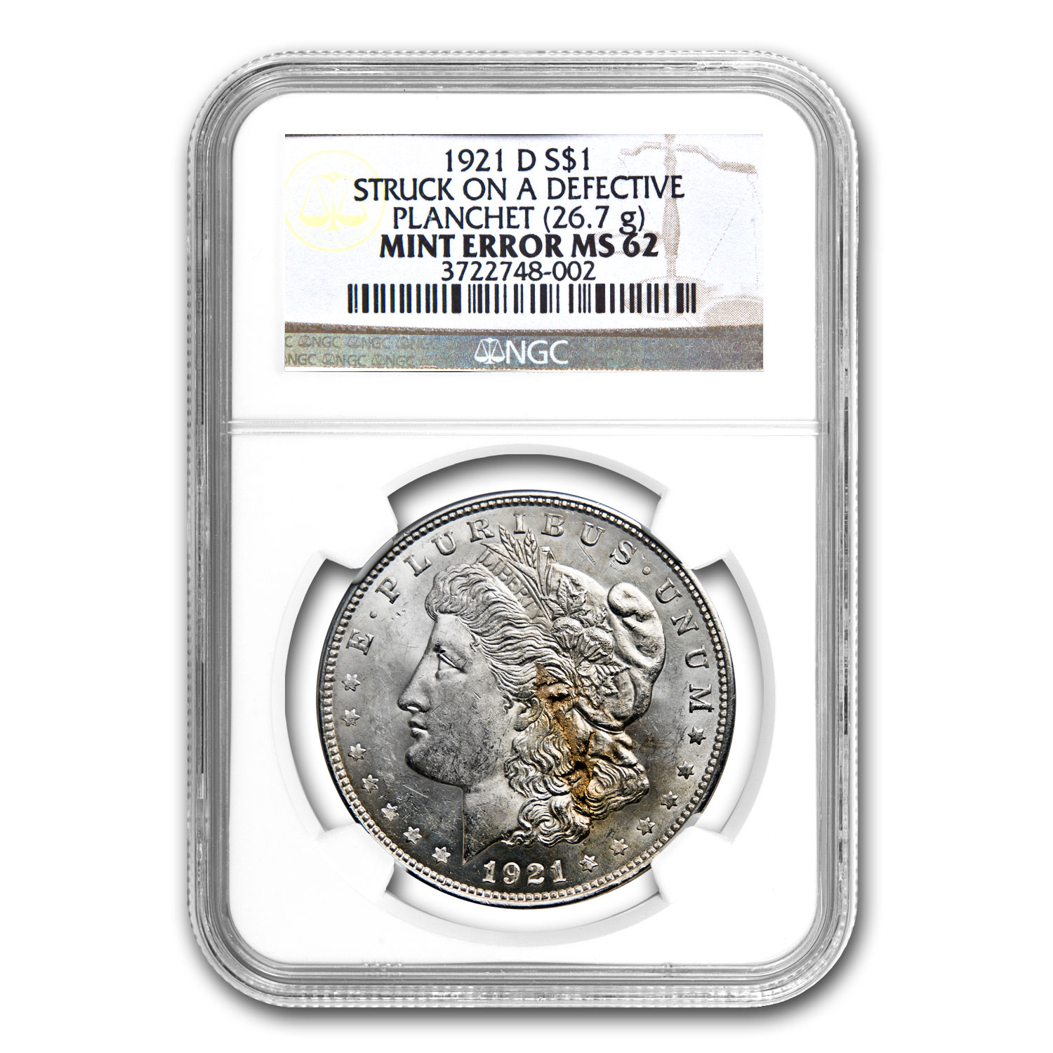 1921-D Morgan Dollar MS-62 NGC Defective Planchet Mint Error