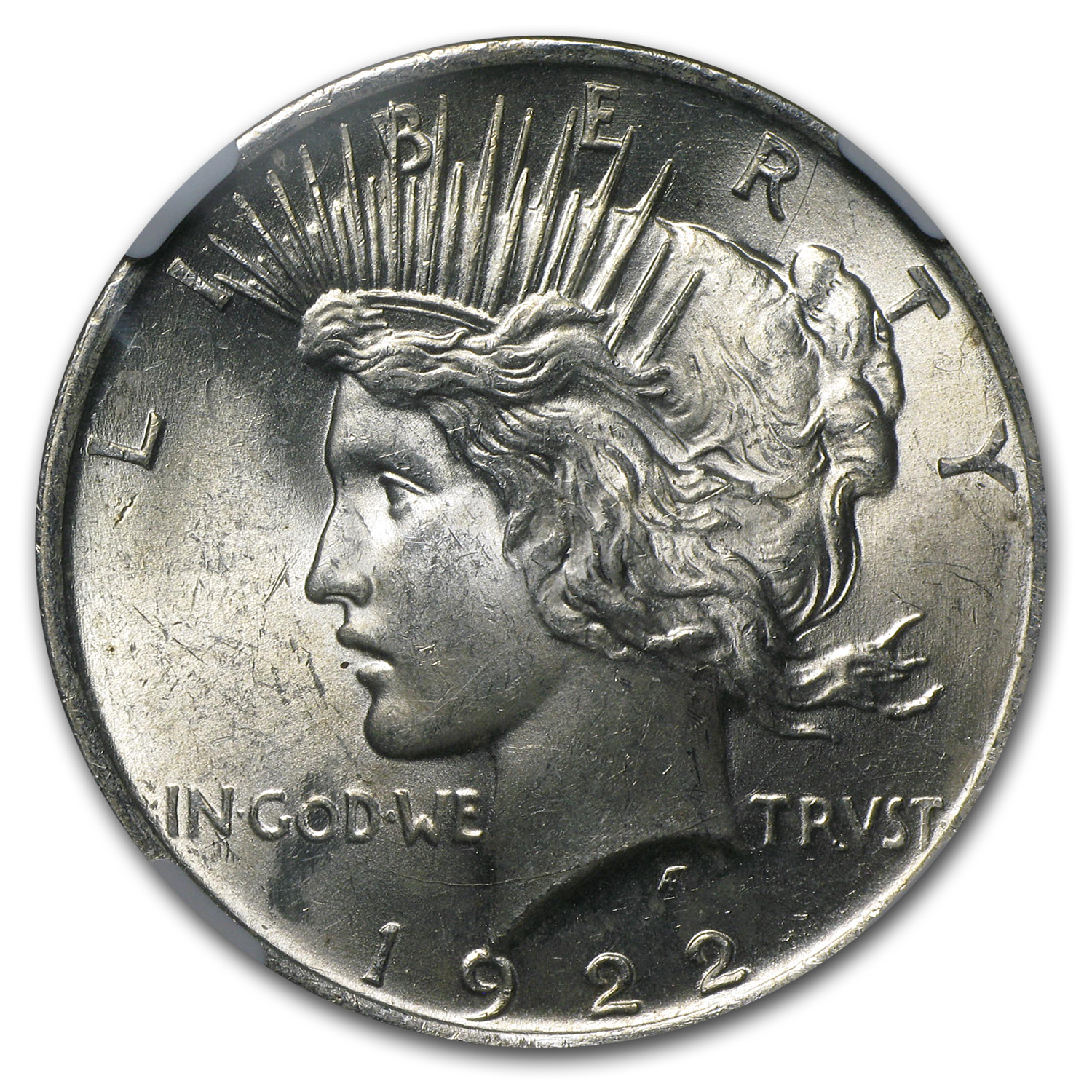 1922 Peace Dollar MS-62 NGC Reverse Struck Thru Mint Error