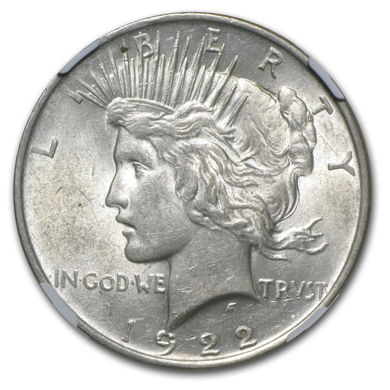 1922 Peace Dollar AU-58 NGC Struck Thru Grease Mint Error