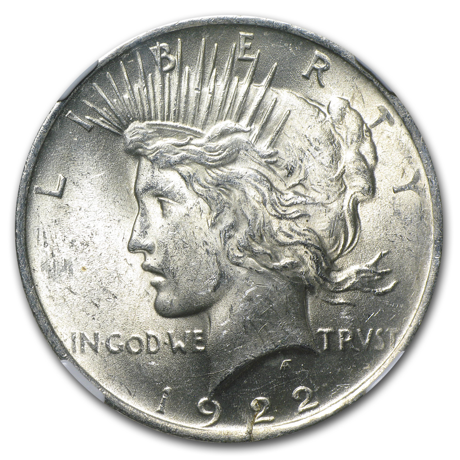 1922 Peace Dollar NGC MS-61 (Cracked Planchet Error)