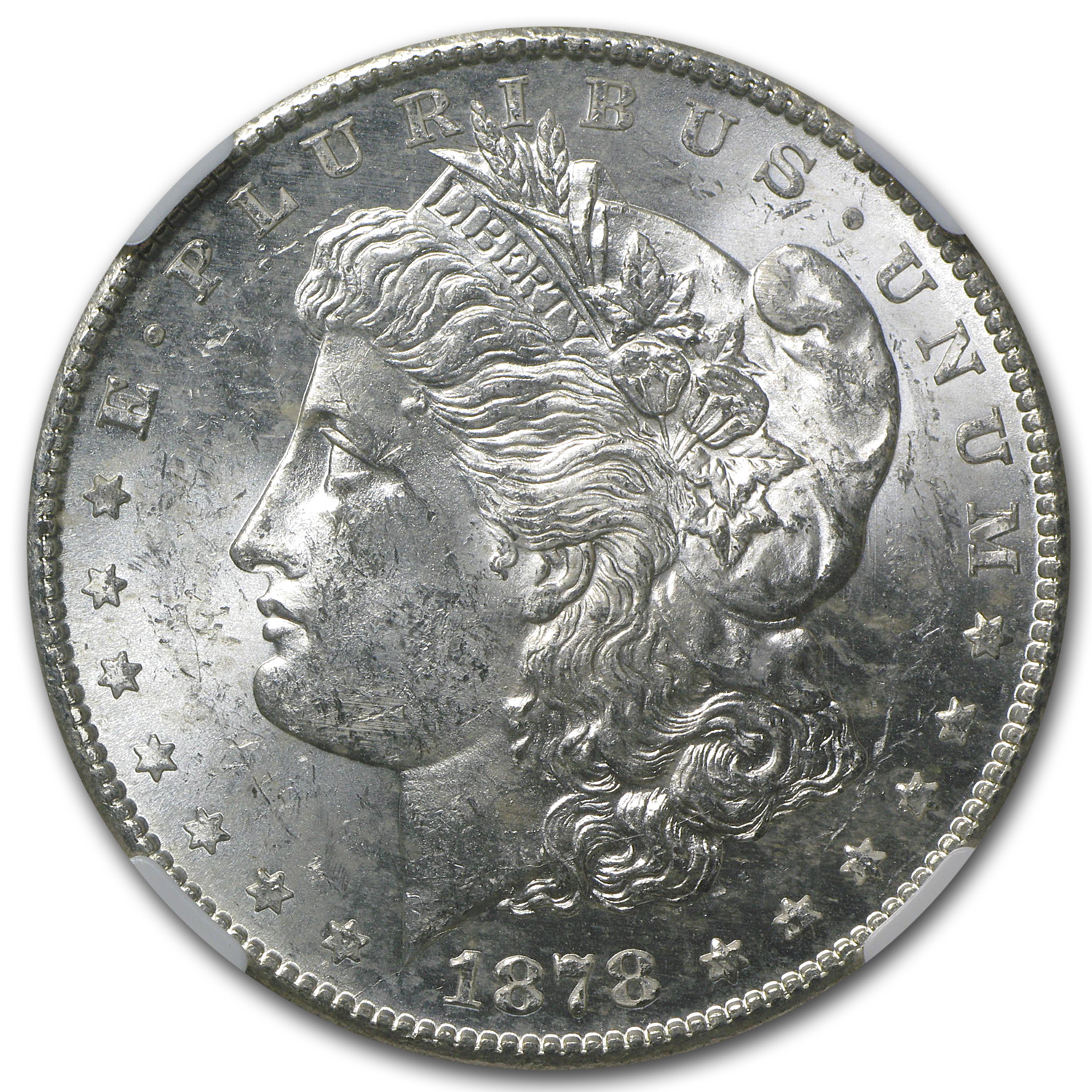 1878-S Morgan Dollar MS-62 NGC (Rev Struck Thru Error)