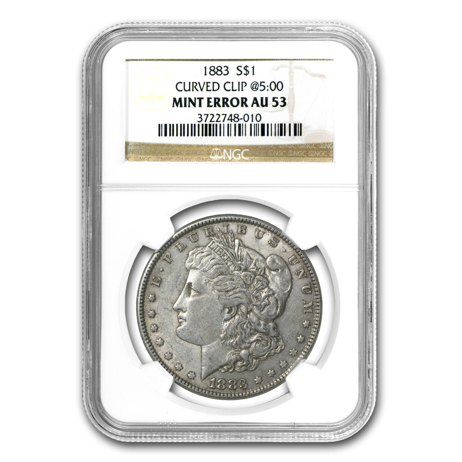 1883 Morgan Dollar AU-53 NGC (Curved Clip Mint Error)