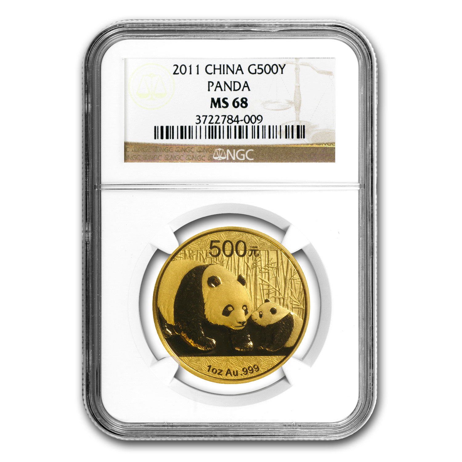 2011 China 1 oz Gold Panda MS-68 NGC