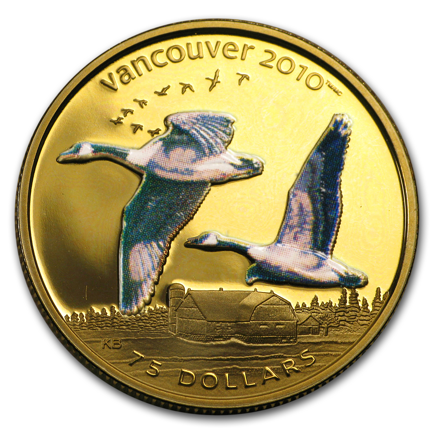 2007 Canada .225 oz Prf Gold $75 Olympics (Colorized, Our Choice)