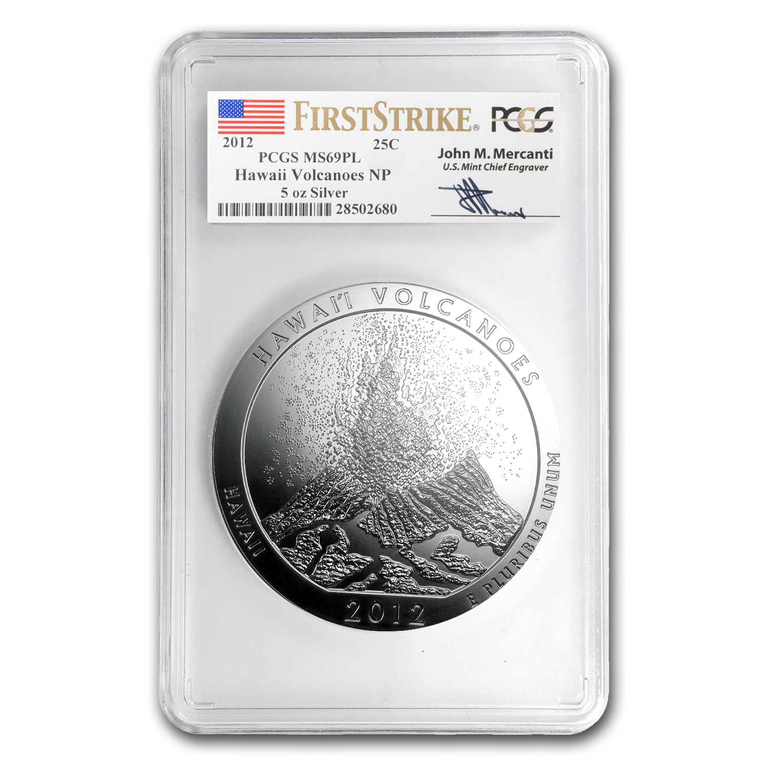 2012 5 oz Silver ATB Hawaii MS-69 PL PCGS (FS, John Mercanti)